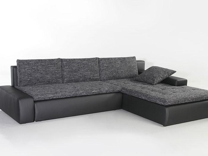 Eckcouch Grau Schwarz